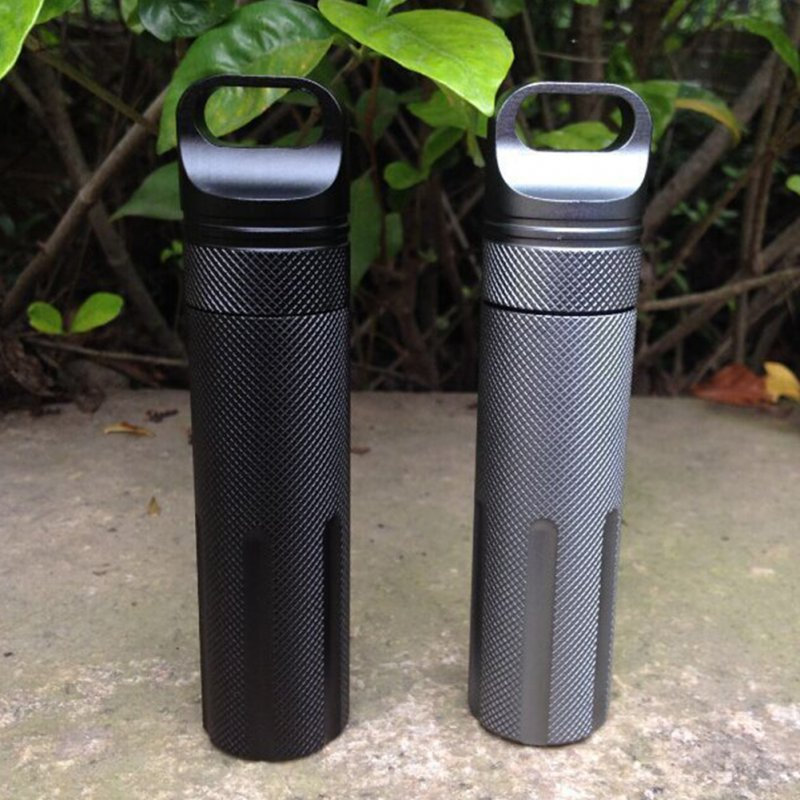 Outdoor Super Strong CNC Waterproof Emergency First Aid Survival Pill Bottle Camping EDC Tank Box gray
