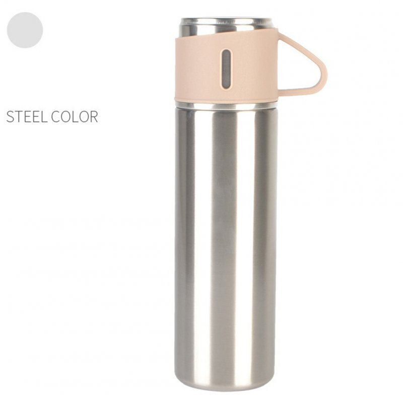 Outdoor Vacuum Cuo for Women Men Large Capacity 304 Stainless Steel Travel Portable Kettle Cup 500ML Steel color - insulation cup (cover cup dual-use models)