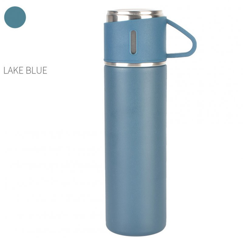 Outdoor Vacuum Cuo for Women Men Large Capacity 304 Stainless Steel Travel Portable Kettle Cup 500ML Lake Blue - Thermos Cup (cover cup dual-use models)