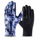 Outdoor Waterproof Camouflage Sports Touch Screen Ski Gloves Hiking Fishing Full Finger Zipper Gloves Blue camouflage L