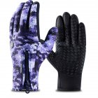Outdoor Waterproof Camouflage Sports Touch Screen Ski Gloves Hiking Fishing Full Finger Zipper Gloves Purple camouflage_S