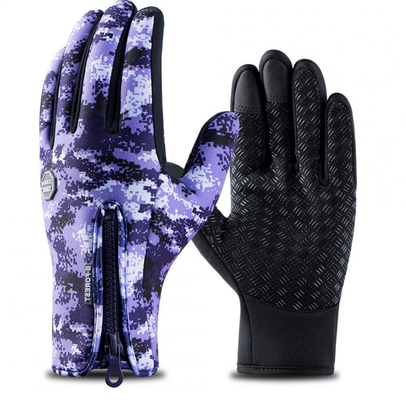 Outdoor Waterproof Camouflage Sports Touch Screen Ski Gloves Hiking Fishing Full Finger Zipper Gloves Purple camouflage_M