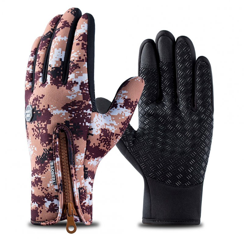 Outdoor Waterproof Camouflage Sports Touch Screen Ski Gloves Hiking Fishing Full Finger Zipper Gloves Coffee color camouflage_M