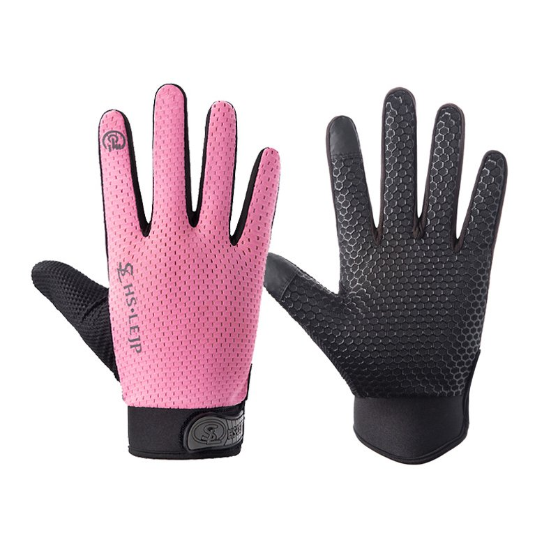 Outdoor gloves Sports Anti Slip Breathable Road Gloves Outdoor Cycling Full Finger Gloves Bicycle Motorcycle Riding powder_L