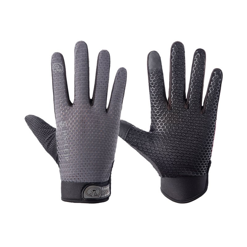 Outdoor gloves Sports Anti Slip Breathable Road Gloves Outdoor Cycling Full Finger Gloves Bicycle Motorcycle Riding gray_L