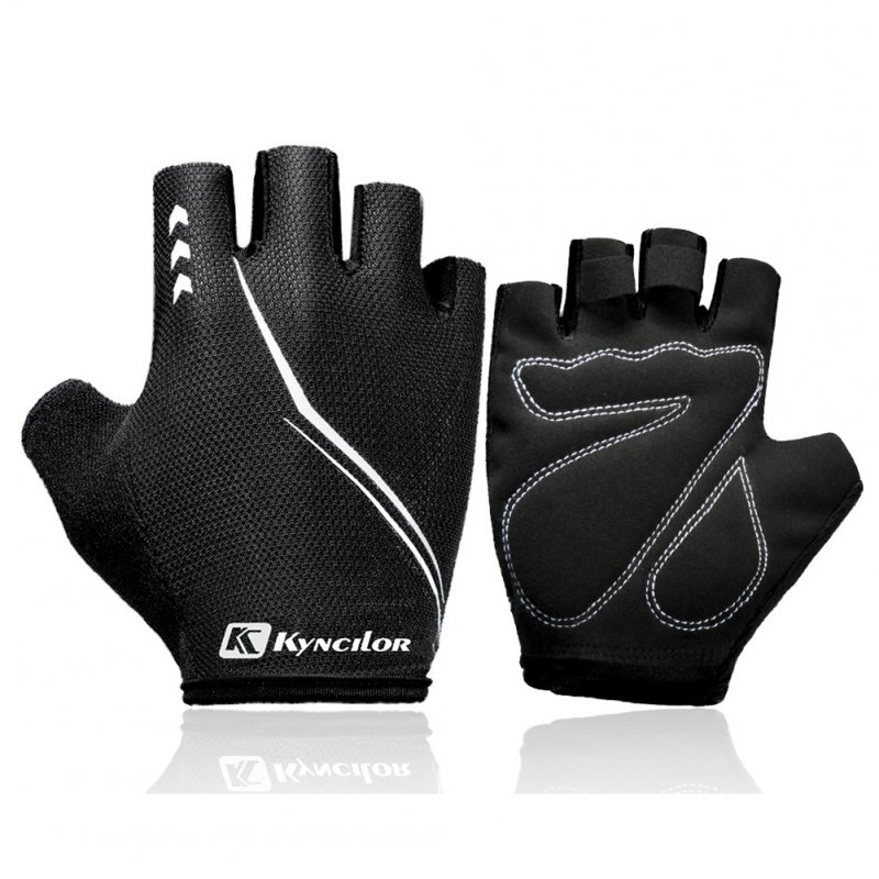 Outdoors Breathable Damping Riding Gloves for Women Men Fitness Half-finger Mountain Bike Gloves black_M