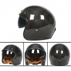 Retro Helmet Carbon Fibre Half Helmet Half Covered Riding Helmet Bright 3K carbon fiber L