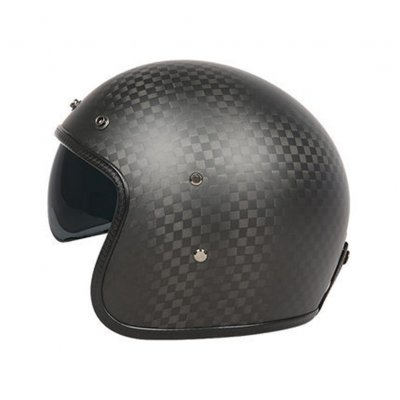 Retro Helmet Carbon Fibre Half Helmet Half Covered Riding Helmet Matte 12K carbon fiber L