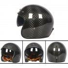 Retro Helmet Carbon Fibre Half Helmet Half Covered Riding Helmet Bright 12K carbon fiber M
