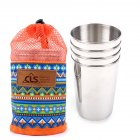Outdoors Camp 304 Stainless Steel Cup Set 4 PCS Picnic Beer Mug 300ML Large Size Office Cup 4 large cups + ethnic style storage bag
