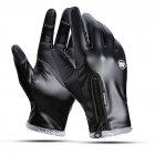 Outdoors Windproof Waterproof Leather Gloves for Women and Men Touch Screen Warm Simier Gloves black XL