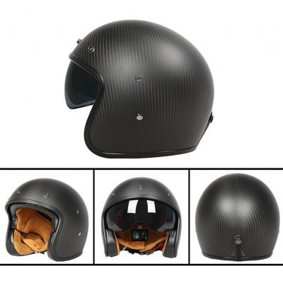 Retro Helmet Carbon Fibre Half Helmet Half Covered Riding Helmet Matt 3K carbon fiber L