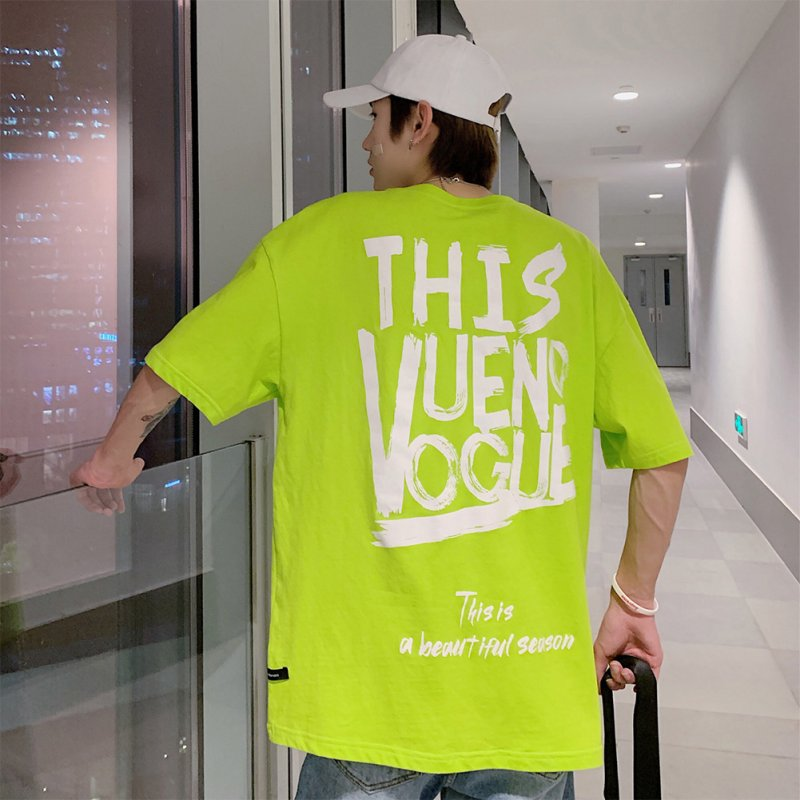 Oversize Casual Shirt Short Sleeves and Round Neck Top Letters Printed Pullover for Man and Woman Fluorescent green_M