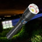 P99 LED Flashlight Zoom Torch with USB Charging Outdoor Camping Lamp black_Model: X914