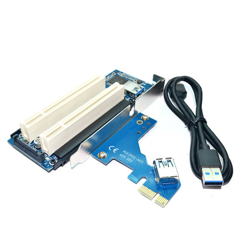 PCI-Express PCI-e to PCI Adapter Card PCIe to Dual Pci Slot Expansion Card USB 3.0 Add on Cards Convertor PCI-e TO PCI