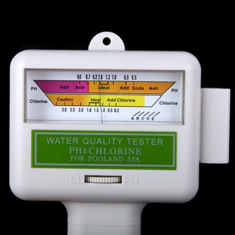 PH CL2 Chlorine Tester Digital Water Quality Monitor for Pool Spa PH Meter FB(No Battery) white