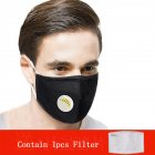 PM2.5 Filter Face Guard Dustproof Cotton with Breathing Valve Anti Dust Allergy Breathing valve black with 1 filter_One size