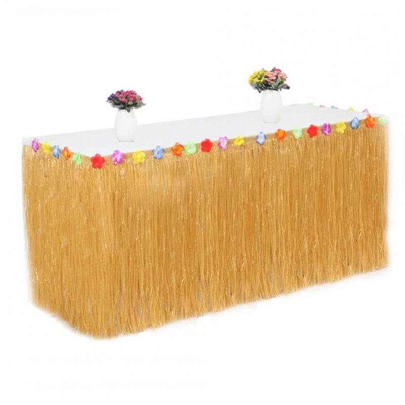 PP Artificial Grass Table Skirt Flower Inlaid Hawaiian Tropical Luau Party Tableware Decoration Orange_None