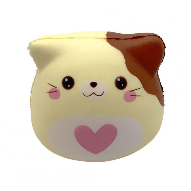PU Doll Slow Rebound Decompression Toy Simulated Kitty Foam Relaxed Toy yellow_10 * 9 * 8.5cm