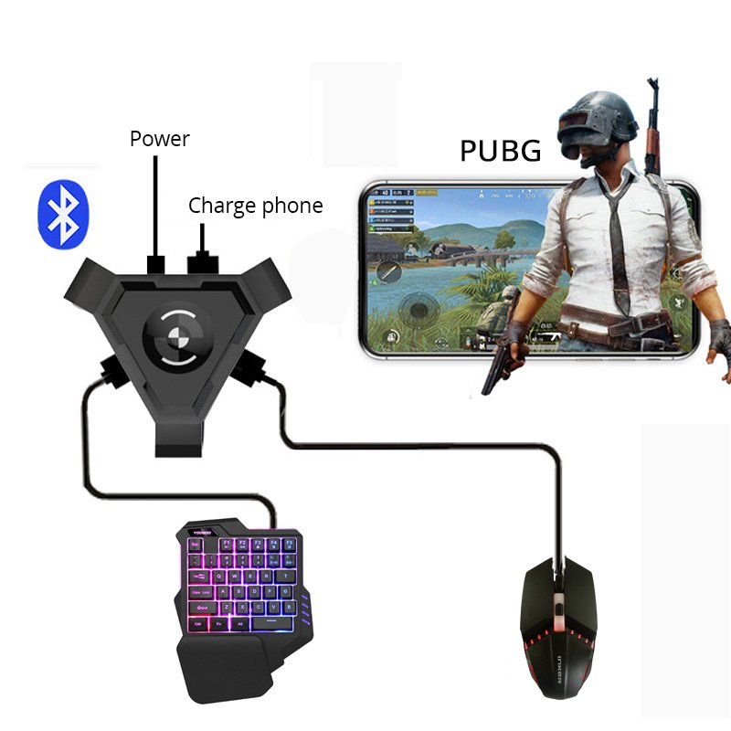 PUBG Mobile Gamepad Controller Gaming Keyboard Mouse Converter for Android Phone to PC Bluetooth Adapter  Converter + mouse and keyboard set