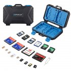 PULUZ Portable Waterproof Drop-proof Card Storage Case for TF CF SD SIM Black blue
