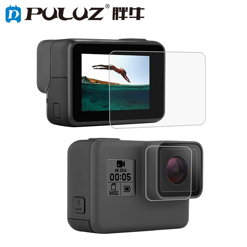 PULUZ Tempered Glass Protector Cover Case for Gopro Hero 5 6 7 Camera Lens Cap LCD Screen Protective Film Front HD film + rear tempered film