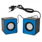 Pair Mini Stereo USB 2.0 Music Speaker Portable for Computer Desktop Blue Black Square-shaped blue
