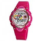 Pasnew LED Waterproof 100m Sports Digital Watch for Children Girls Boys (Pink)