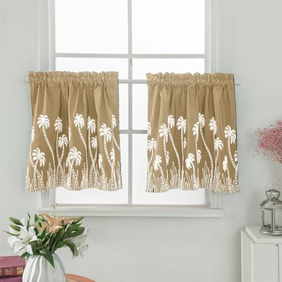 Pastoral Style Embroidered Curtain for Kitchen Door Curtain Decoration Beige_74 * 61cm