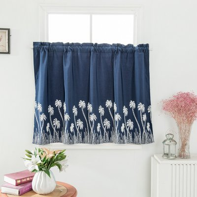 Pastoral Style Embroidered Curtain for Kitchen Door Curtain Decoration Navy blue_74 * 61cm