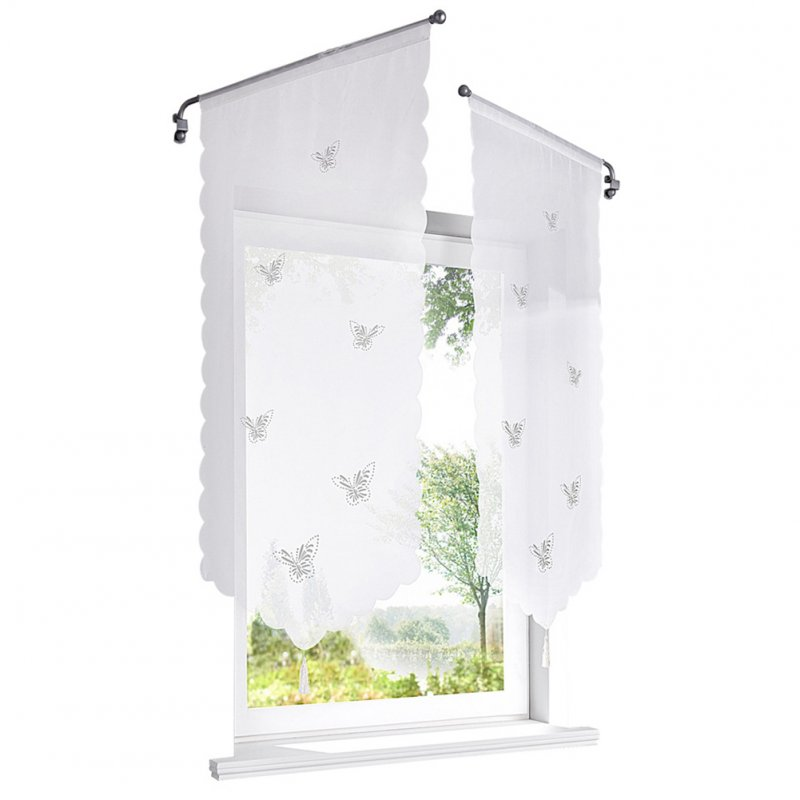 Pastoral Style Owl /Butterflies Pattern Triangular Short Curtains for Window Butterfly hollow out_60*120cm