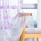 Peach Blossom Print Window Curtain for Living Room Bedroom Translucent Curtain Purple peach terry_1 * 2 meters high