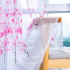 Peach Blossom Print Window Curtain for Living Room Bedroom Translucent Curtain Pink peach terry_1 * 2 meters high