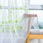 Peach Blossom Print Window Curtain for Living Room Bedroom Translucent Curtain Green peach terry 1   2 meters high