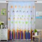Pencil Printing Window Curtain Tulle for Living Room Bedroom Drapes Decor White pencil yarn 1m wide x 2m high