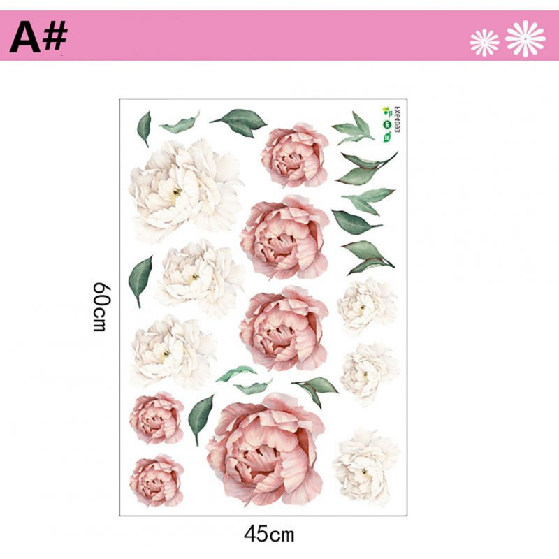 Peony Flower Series Pattern Wall Art Sticker for Home Living Room Bedroom Decor