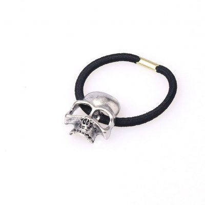 Personality Punk Stereo Hair Rope Halloween Metal Skull Head Hair Ring Hair Accessories Rubber Band Ancient silver