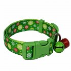 Pet Cloth Printing Collar with Bell for Cat Dogs Teddy Christmas Party Prop Green snowflower_S