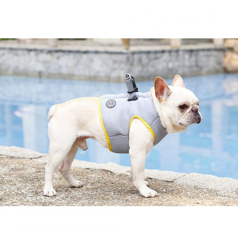 Pet Cooling Harness Summer Vest for Dog Puppy Outdoor Walking Gray yellow_3XL