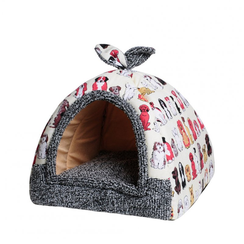 Pet Detachable Sleeping Nest for Small Dog Teddy Poodle Cat Beige group of dogs_S