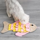 Pet Dog Cat Sniffing Mat Fish Shaped Pet Toy Sniffing Training Blanket Fleece Feeding Pad Pink