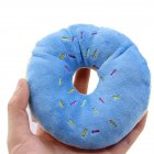 Pet Dog Chew Throw Toys Lovely Squeaker Donut Shape Plush Sound Toy blue