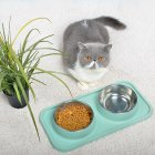 Pet Double  Bowl Cat  Dog Dining  Table Non-slip Stainless  Steel Feeder Blue_Stainless steel double bowl