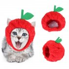 Pet Hat Teddy Dog Dress Cartoon Cat Cosplay Headgear for Christmas Apple hat_One size