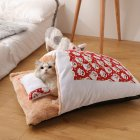 Pet House Winter Warm Sleeping Bag Nest Soft Cushion for Cat Dog Puppy Teddy L (65*50)_red