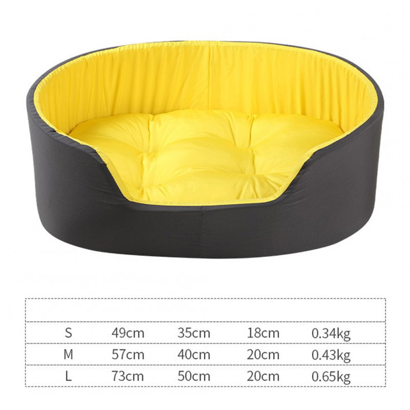 Pet Nest  Wrapped Two-color Washable 3D Spring Comfortable Cat and Dog Kennel with Mat Black yellow nest_M (57cm*40cm)