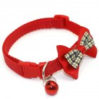 Pet Plaid Bowknot Collar for Cat Dog Adjustable Collar with Bell  Red_1.0