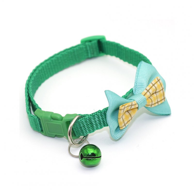 Pet Plaid Bowknot Collar for Cat Dog Adjustable Collar with Bell  Green_1.0
