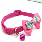 Pet Plaid Bowknot Collar for Cat Dog Adjustable Collar with Bell  Rose red_1.0