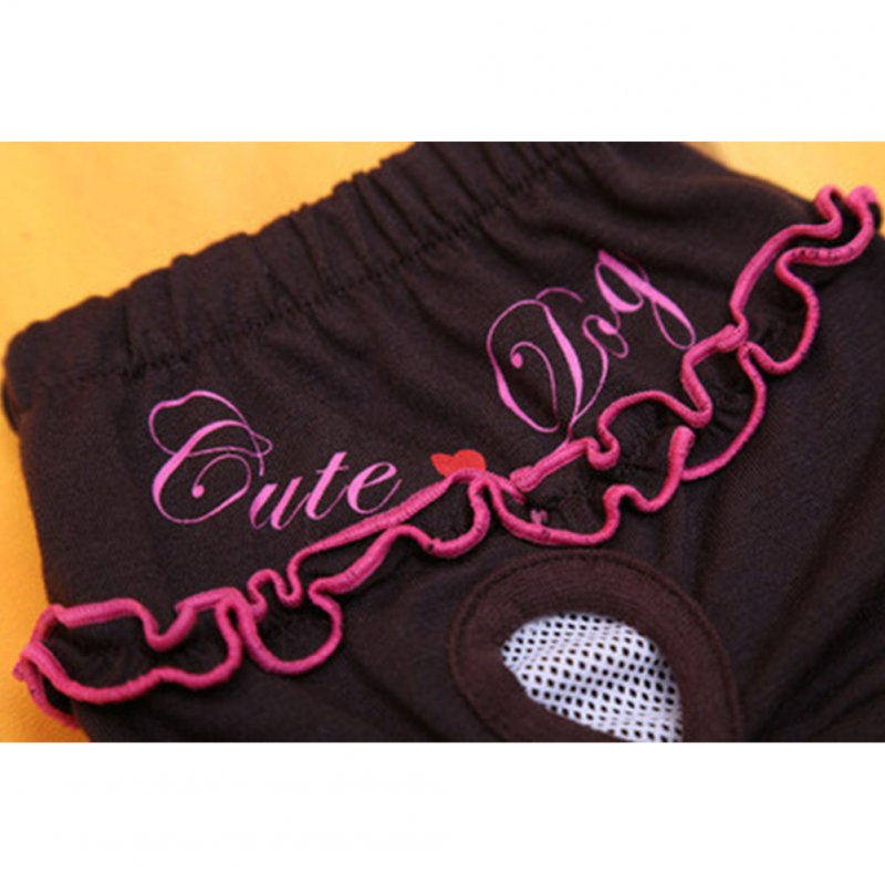 Pet Safety pants Lace Physiological Menstrual Hygiene Pants Brown_XS